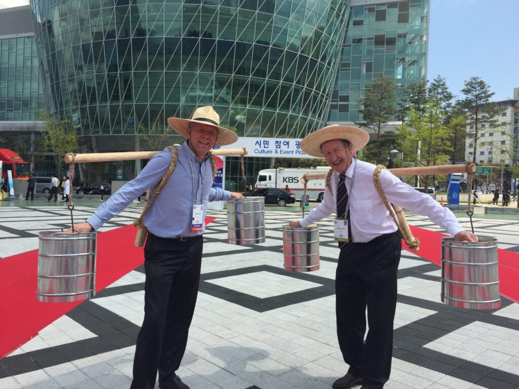 Sir Diederik Six and Henk van Schaik, founders of ISC Water, publicize the connection between water and heritage at the 2015 World Water Forum in Seoul, Korea.