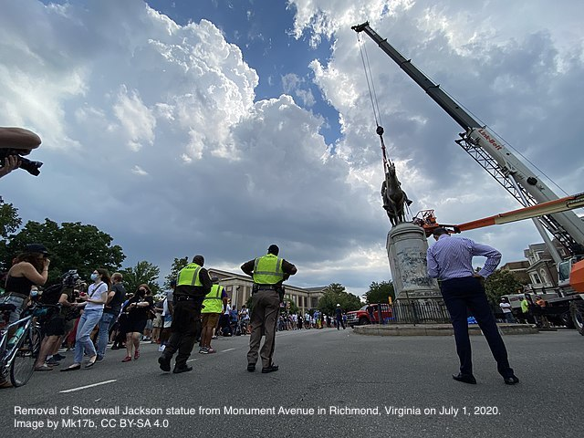 Removal of Stonewall Jackson statue from Monument Avenue in Richmond, Virginia on July 1, 2020