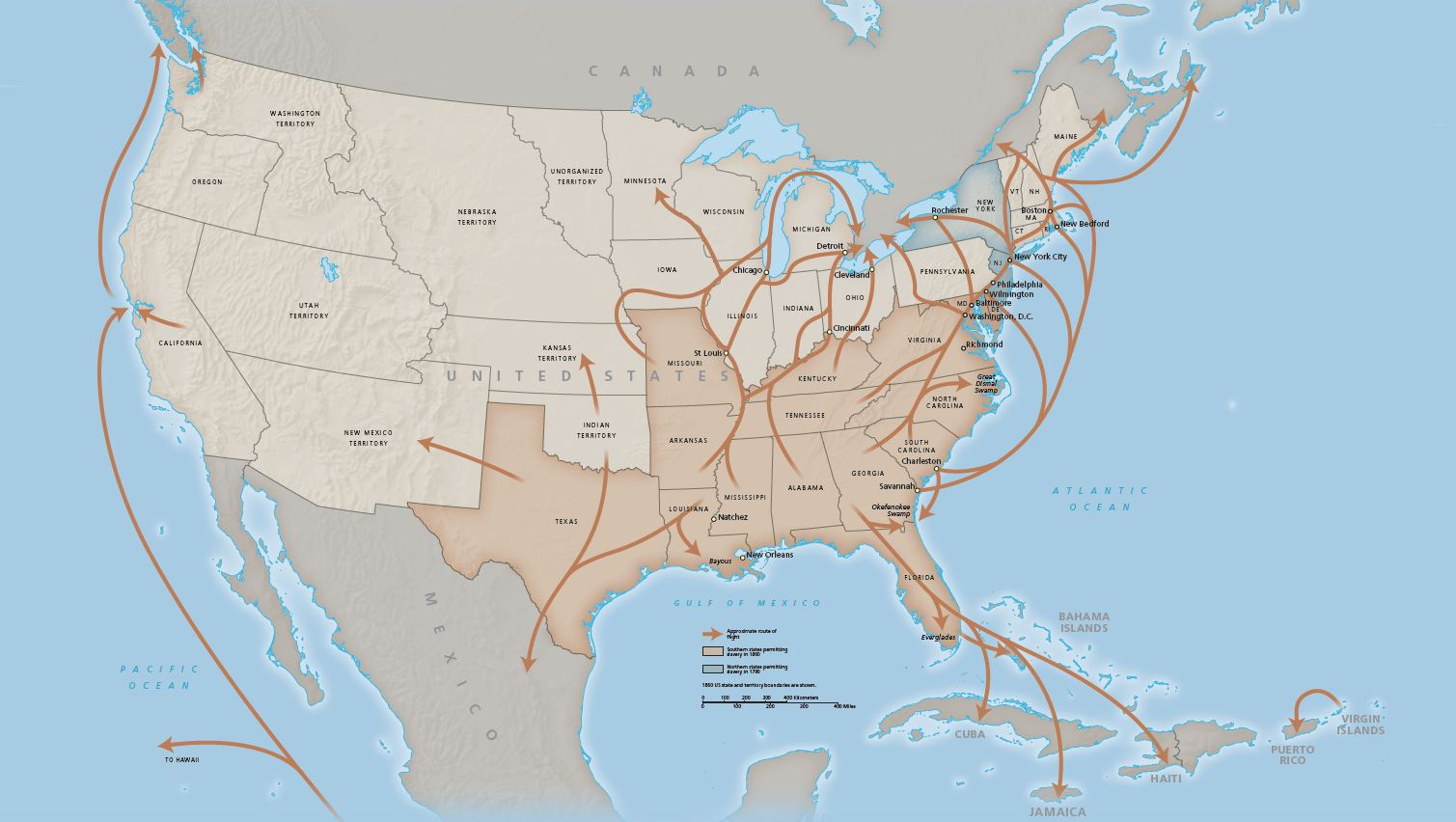 Map of the Underground Railroad, NPS